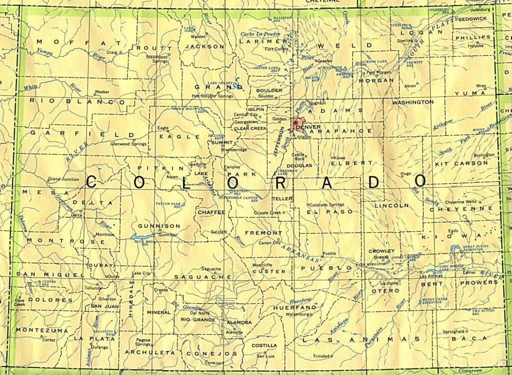 Colorado Maps - Perry-Castañeda Map Collection - Ut Library Online inside Printable Map Of Colorado