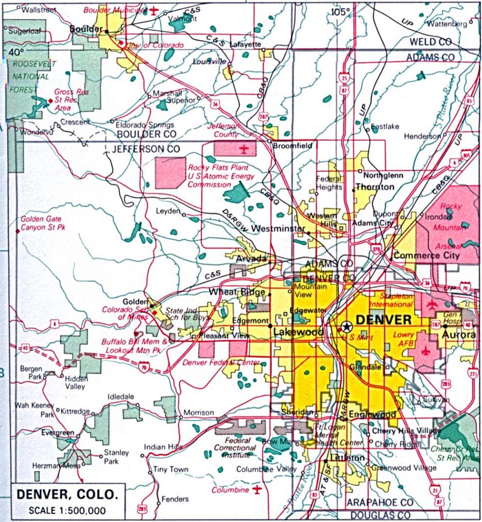 Colorado Maps - Perry-Castañeda Map Collection - Ut Library Online throughout Denver City Map Printable