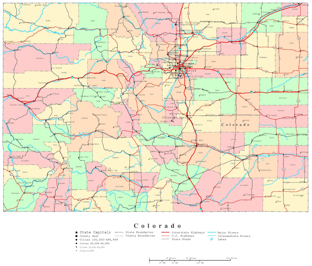 Colorado Printable Map pertaining to Printable Road Maps
