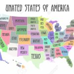 Colored Poster Map Of United States Of America With State Names Within Printable Map Of The United States Of America