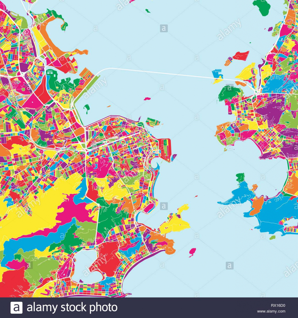 Colorful Map Of Rio De Janeiro. Vector Outline Version For Unlimited with Printable Map Of Rio De Janeiro