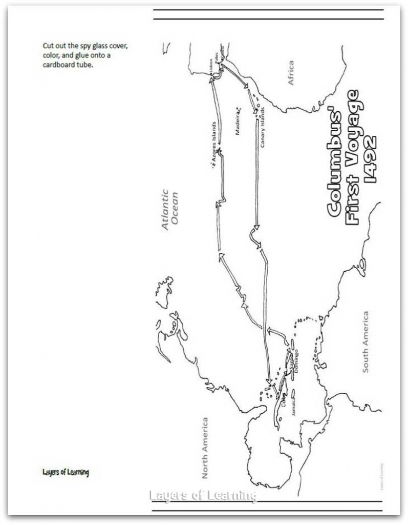 Columbus's First Voyage Map And Craft - Layers Of Learning with Printable Map Of Christopher Columbus Voyages