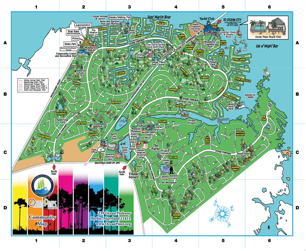 Community Map | Ocean Pines Association | Md - Printable Street Map with Printable Street Map Ocean City Nj