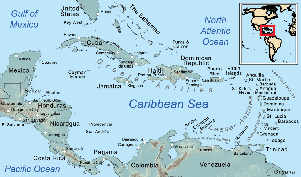 Comprehensive Map Of The Caribbean Sea And Islands regarding Maps Of Caribbean Islands Printable