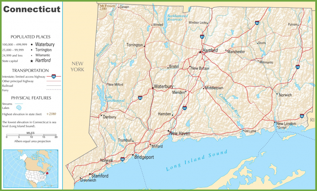 Connecticut Highway Map with Printable Map Of Connecticut