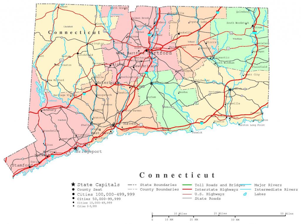 Connecticut Printable Map for Printable Map Of Connecticut