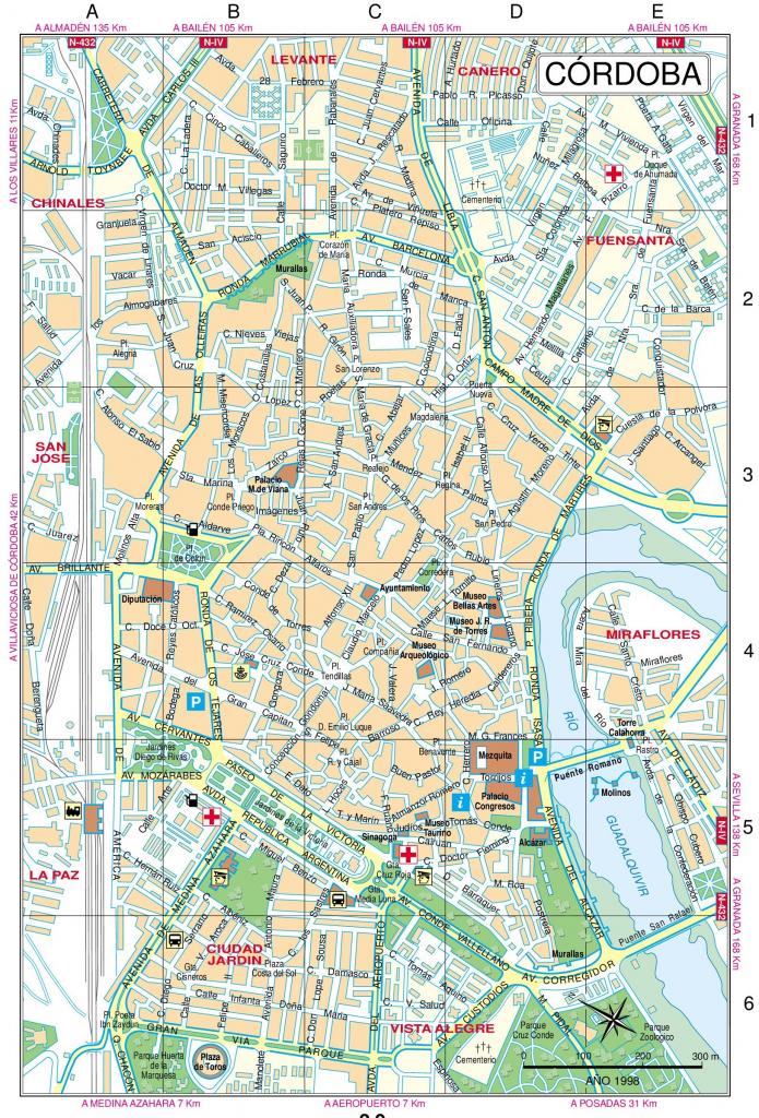 Cordoba Street Map inside Printable Street Map Of Granada Spain
