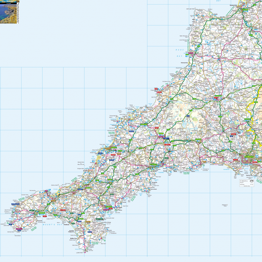 Cornwall Offline Map, Including The Cornish Coastline, Lands End in Printable Map Of Cornwall