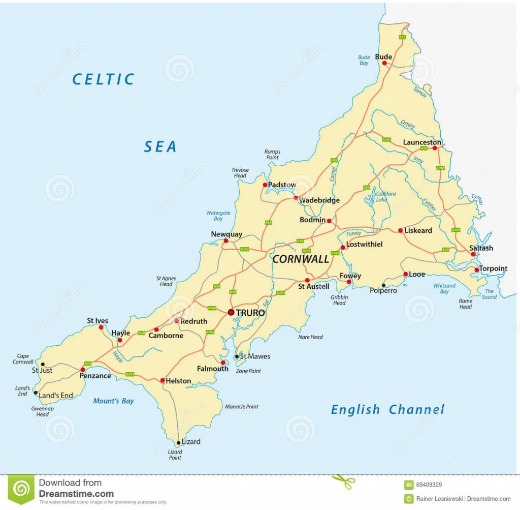 Cornwall Road Map Stock Illustration. Illustration Of European regarding Printable Map Of Cornwall