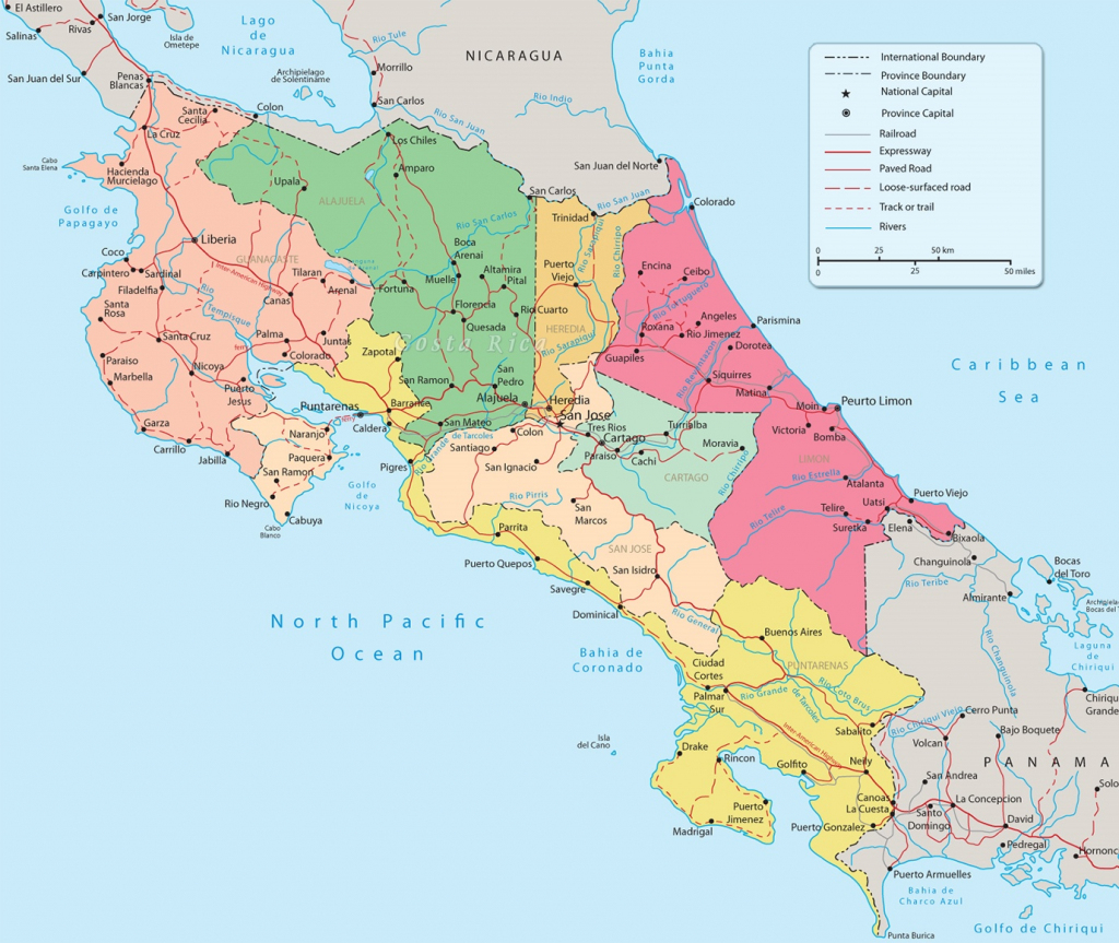Costa Rica Political Map regarding Printable Map Of Costa Rica