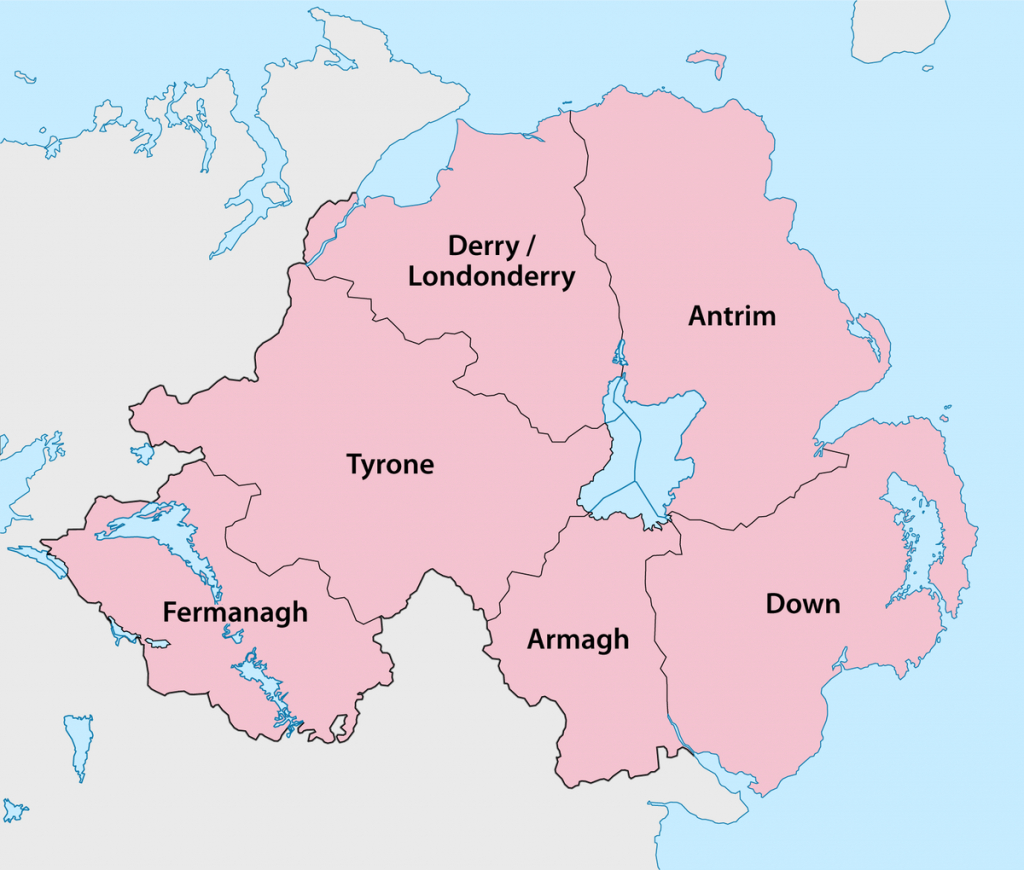 Counties Of Northern Ireland - Wikipedia pertaining to Printable Map Of Northern Ireland