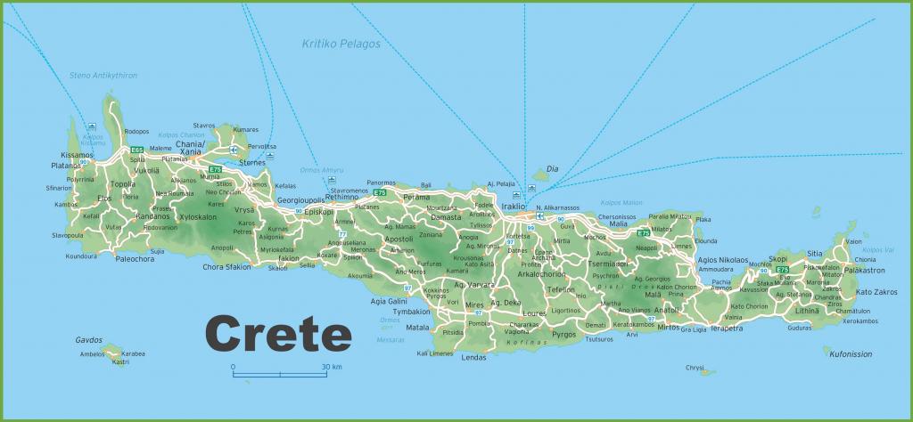 Crete Road Map for Printable Map Of Crete