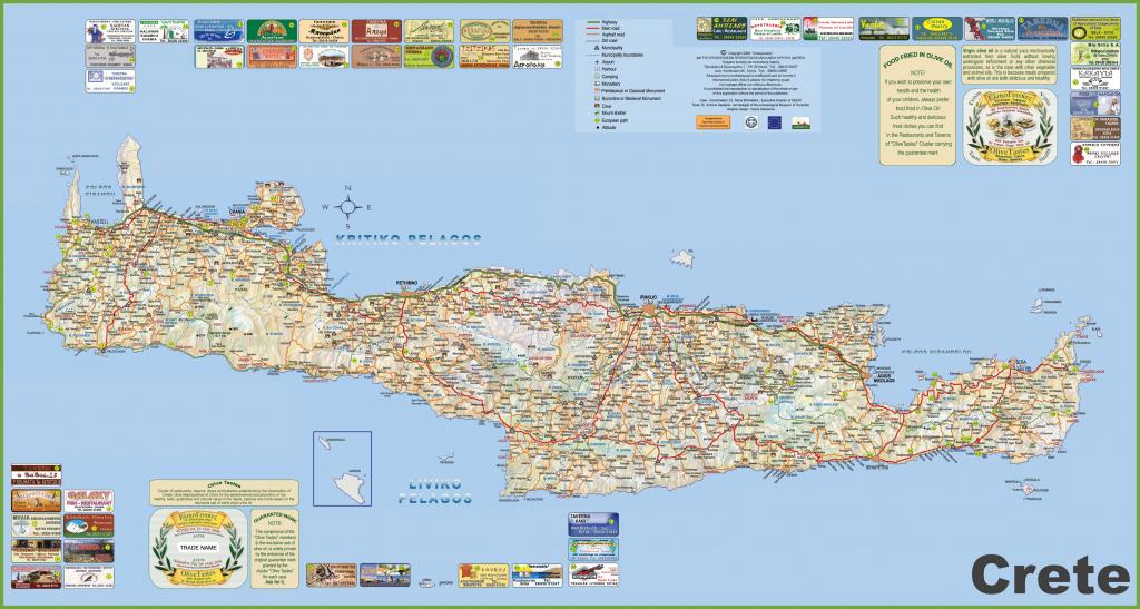 Crete Tourist Map with regard to Printable Map Of Crete