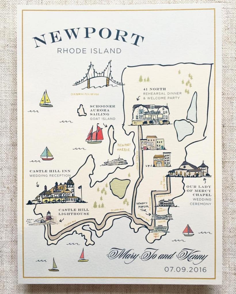 Custom Illustrated Map, Wedding Map, Illustration, Welcome Bag for Free Printable Wedding Maps