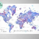 Custom Quote   Blue And Purple Watercolor Printable World Map With Intended For Custom Printable Maps