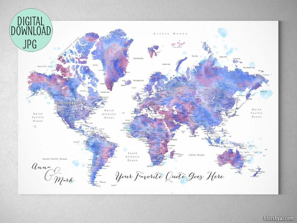 Custom Quote - Blue And Purple Watercolor Printable World Map With intended for Custom Printable Maps