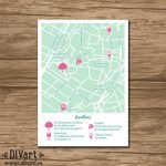Custom Wedding Map, Event Map, Directions, Locations   Printable For How To Create A Printable Map For A Wedding Invitation