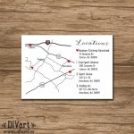 Custom Wedding Map, Event Map, Directions, Locations   Printable With Printable Map Directions For Invitations