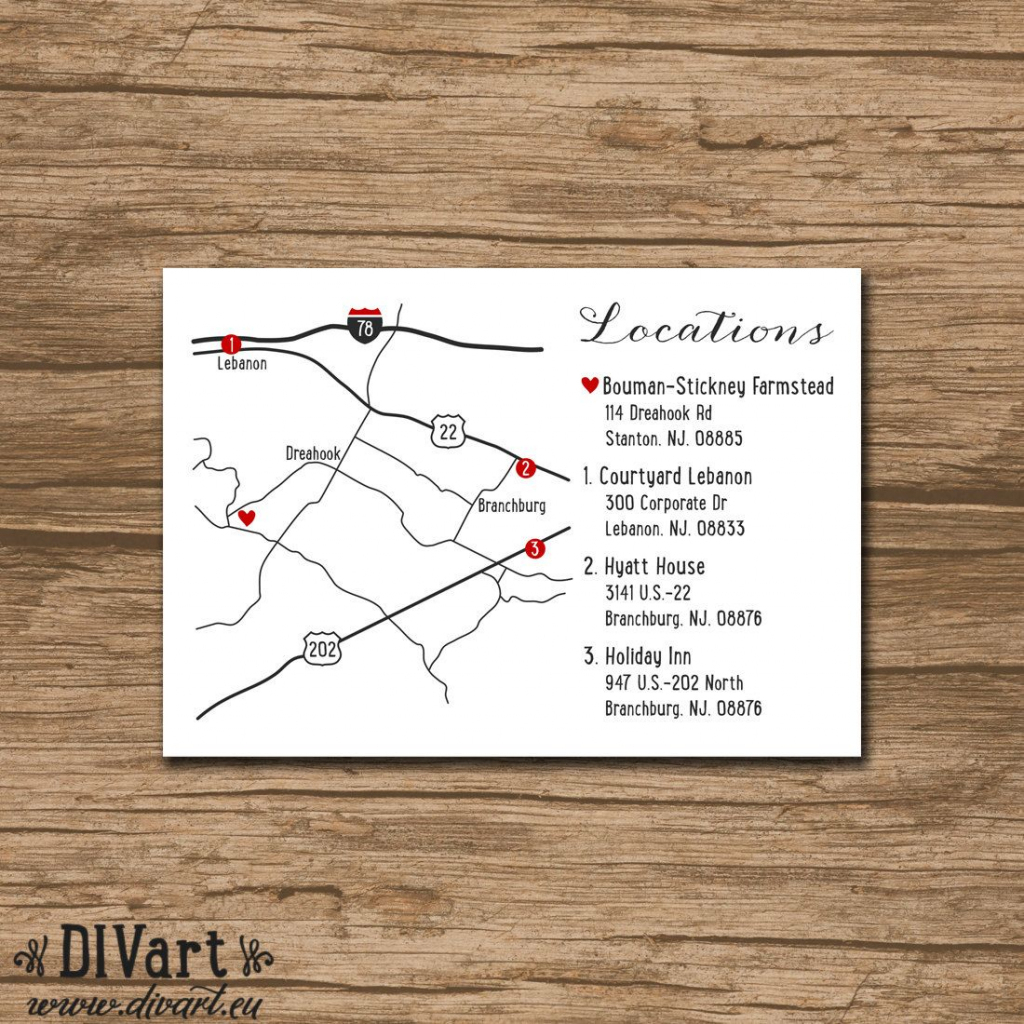 Custom Wedding Map, Event Map, Directions, Locations - Printable with Printable Map Directions For Invitations