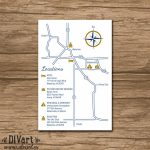 Custom Wedding Map, Event Map, Directions, Locations   Printable Within Printable Map Directions For Invitations