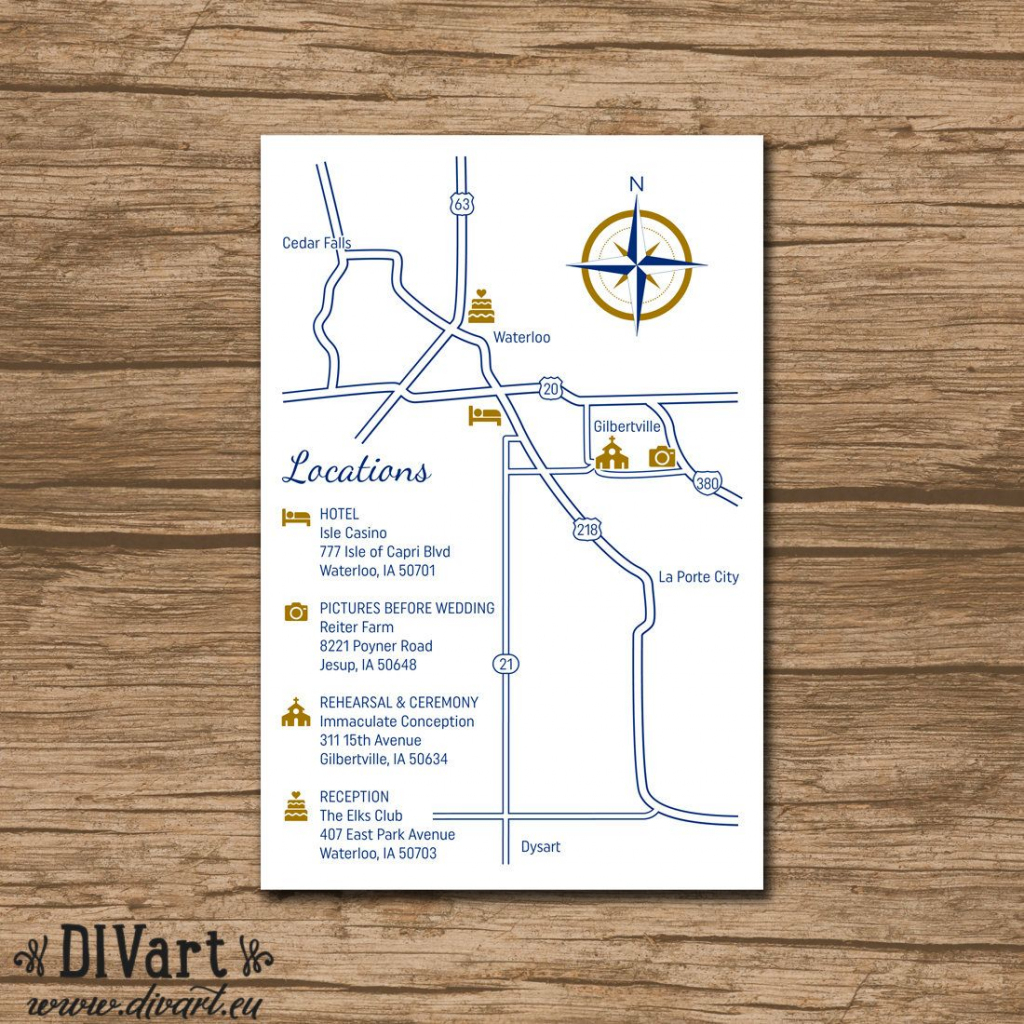 Custom Wedding Map, Event Map, Directions, Locations - Printable within Printable Map Directions For Invitations