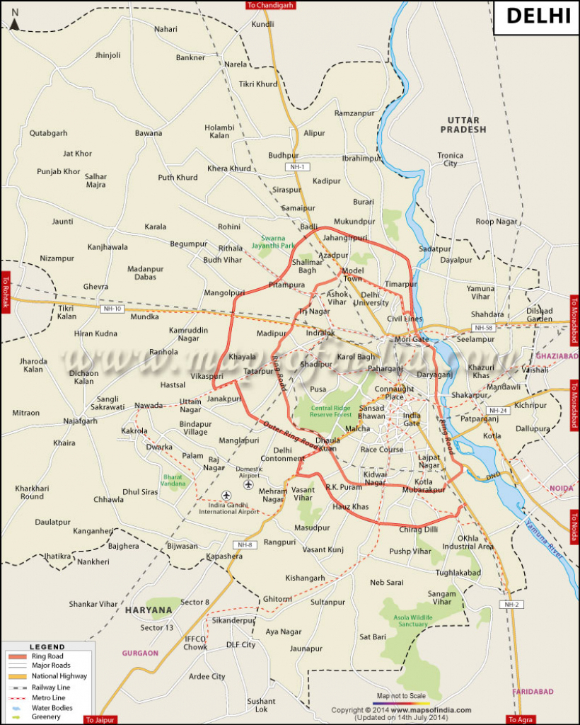 Delhi Map: City Information And Facts, Travel Guide with regard to Printable Map Of The 13 Colonies With Names