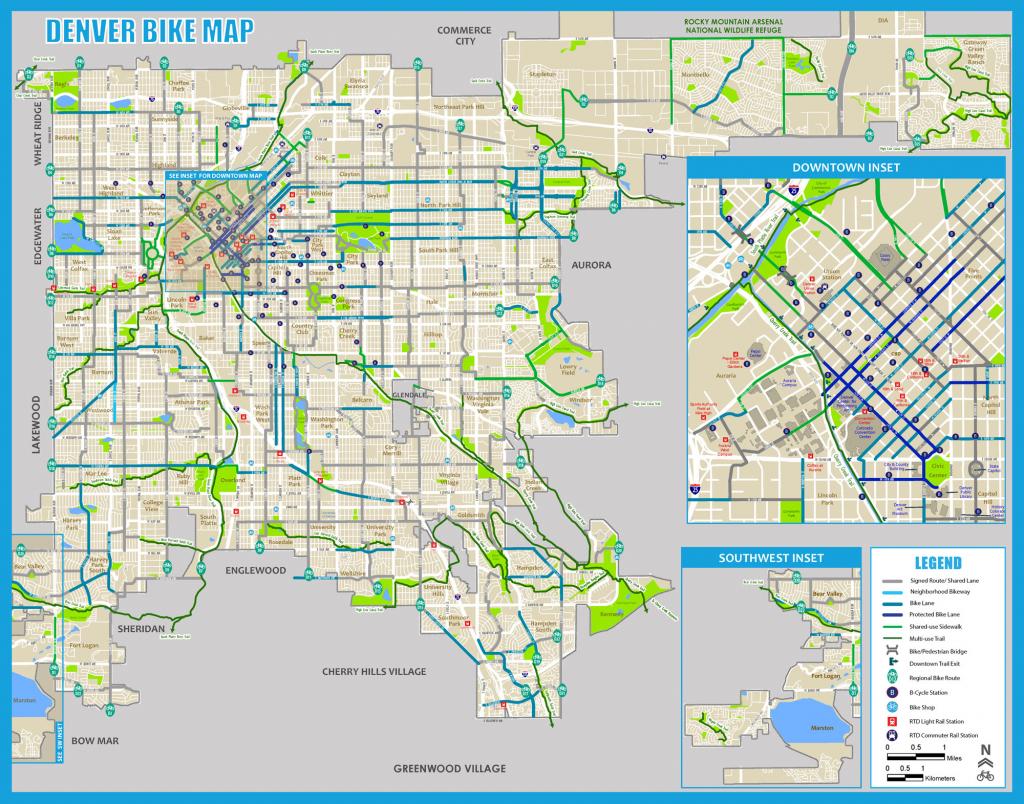 Denver Bike Map (2017) throughout Printable Map Of Denver