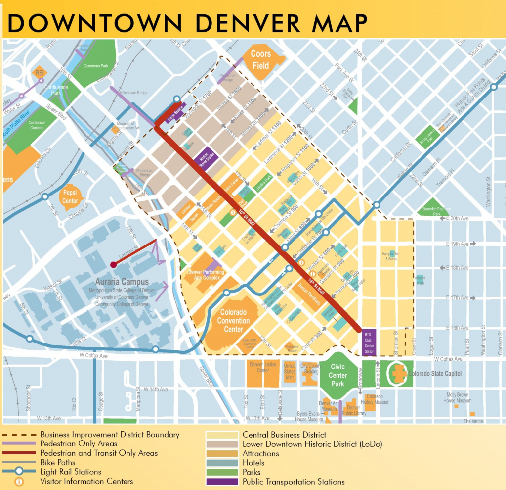 Denver Downtown Map for Printable Walking Map Of Downtown Chicago