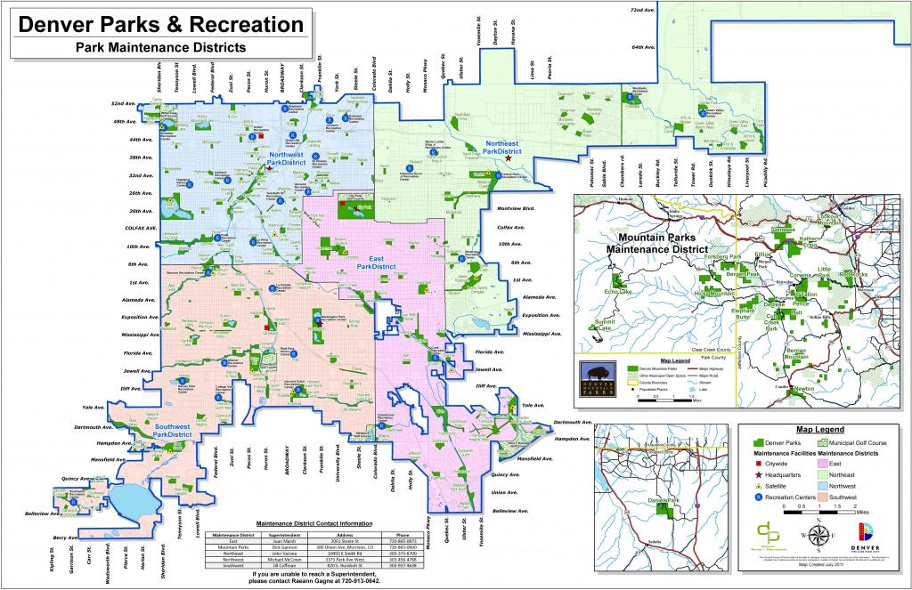 Denver Maps   Colorado, U.s.   Maps Of Denver in Printable Map Of Denver