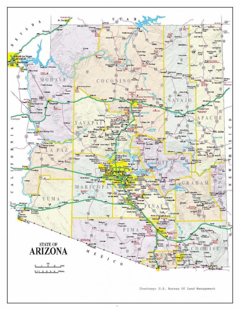Detailed Arizona Map | Maps In 2019 | Printable Maps, Map, Arizona throughout Printable Map Of Tucson Az