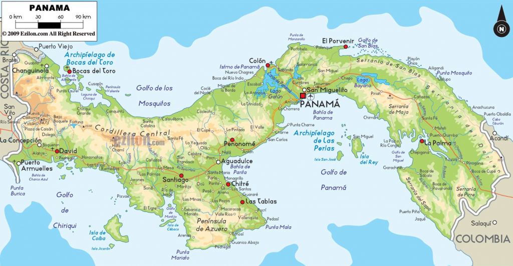 Detailed Map Of Panama |  Detailed Physical Map Of Panama. Panama with regard to Printable Map Of Panama