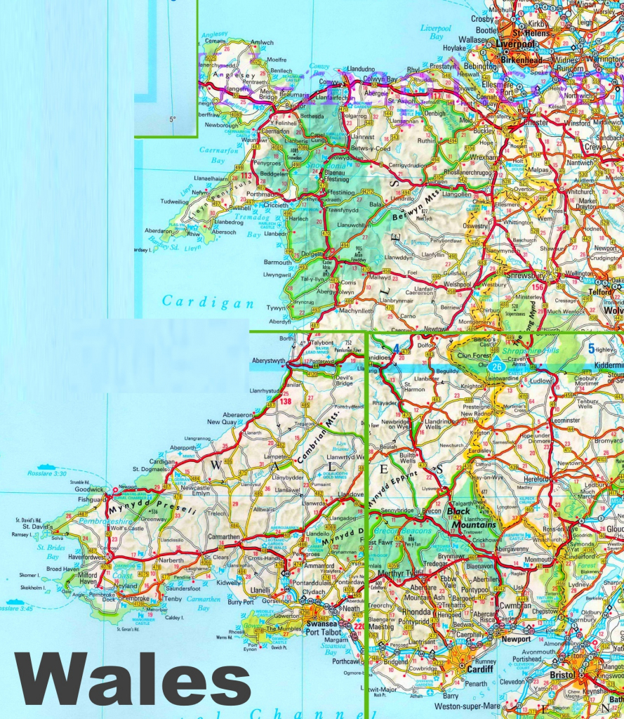 Detailed Map Of Wales regarding Printable Map Of Wales