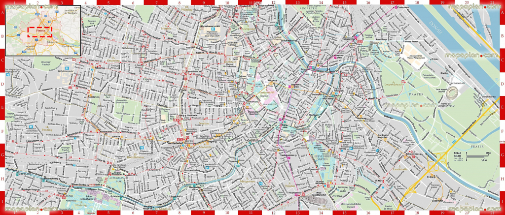 Detailed Printable High Quality Road Guide Street Names Large Scale pertaining to Printable Tourist Map Of Vienna