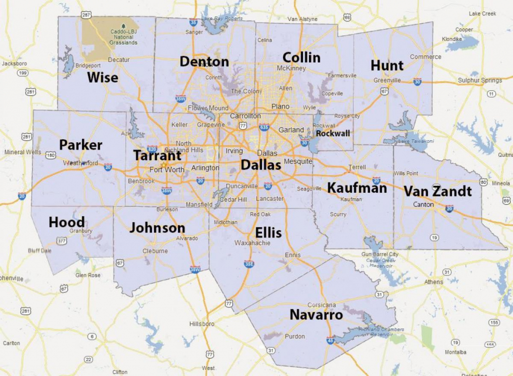 Dfw County Map - Fort Worth County Map (Texas - Usa) within Printable Map Of Dallas Fort Worth Metroplex