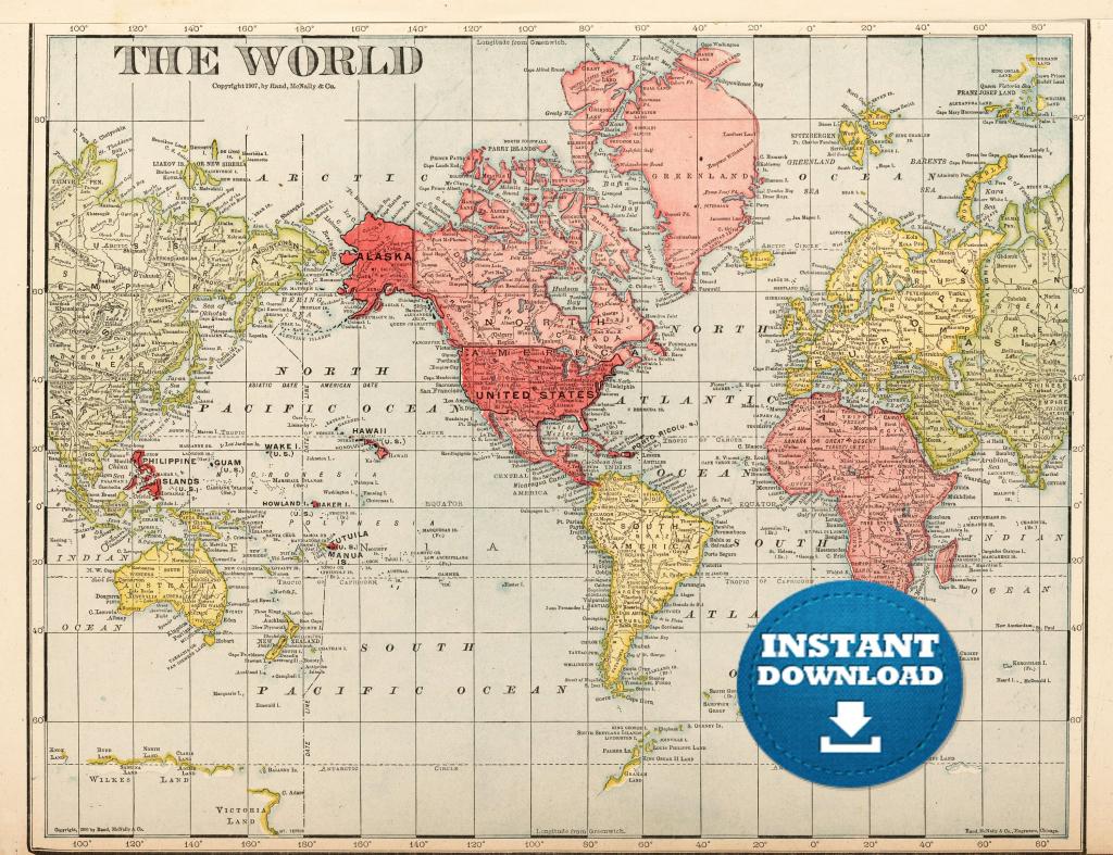 Digital Old World Map Printable Download. Vintage World Map.   Etsy within Vintage Map Printable