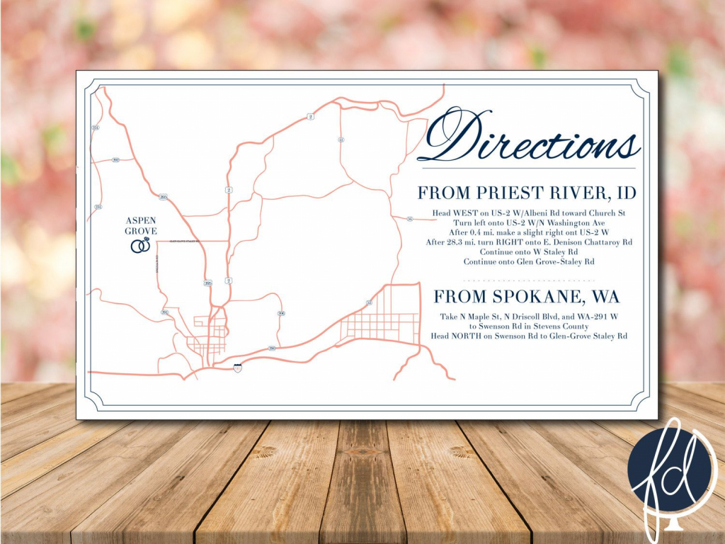 Directions Card, Custom Wedding Map, Details Card, Invitation Map regarding Printable Map Directions For Invitations