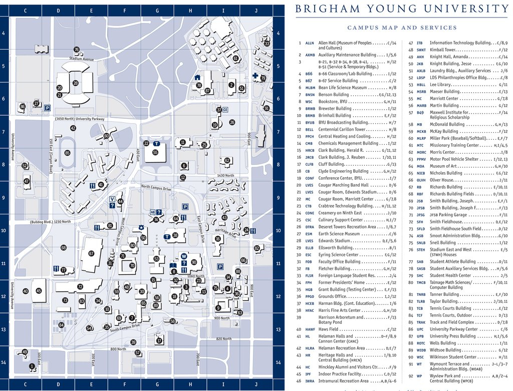 Directions & Maps | Mechanical Engineering in Byu Campus Map Printable