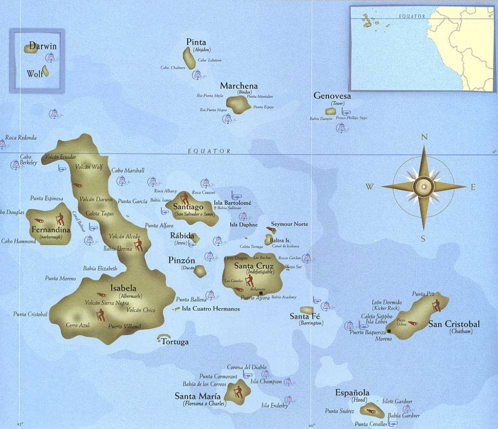 Discover Galapagos - Galapagos Islands Map pertaining to Printable Map Of Galapagos Islands