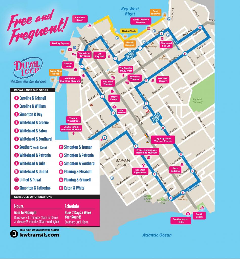 Document Center / Hop On - Hop Off The Free Duval Loop! / Key West, Fl regarding Key West Street Map Printable