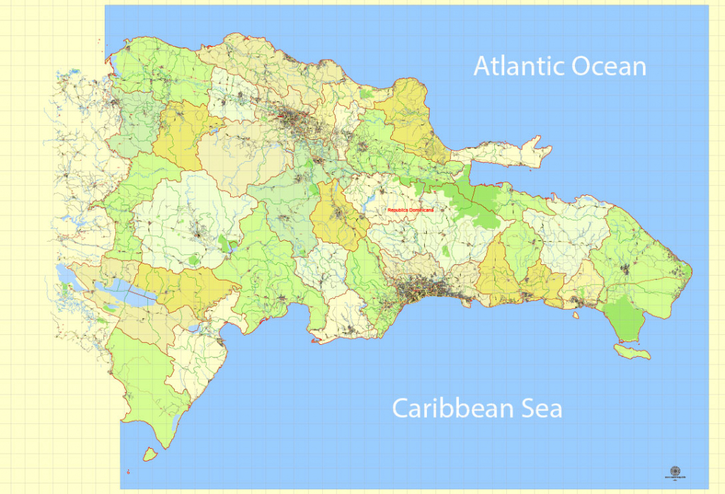 Dominican Republic Map Extra Detailed 01 Printable, Exact Vector for Printable Map Of Dominican Republic