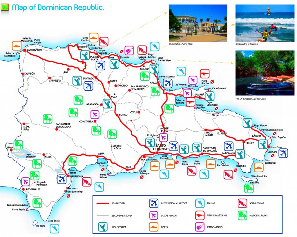 Dominican Republic Tourist Attractions Map with Printable Map Of Dominican Republic