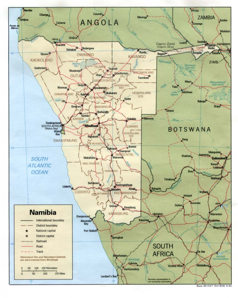 Download Free Namibia Maps within Printable Road Map Of Namibia