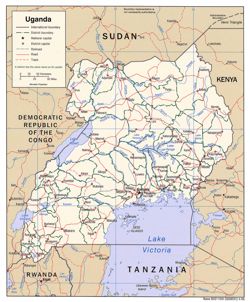 Download Free Uganda Maps with regard to Printable Map Of Uganda