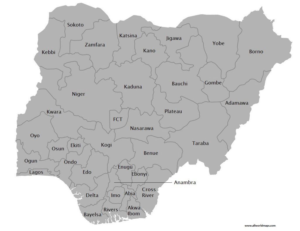 Download Printable Map Of Nigeria With Cities And States | All World for Printable Map Of Nigeria