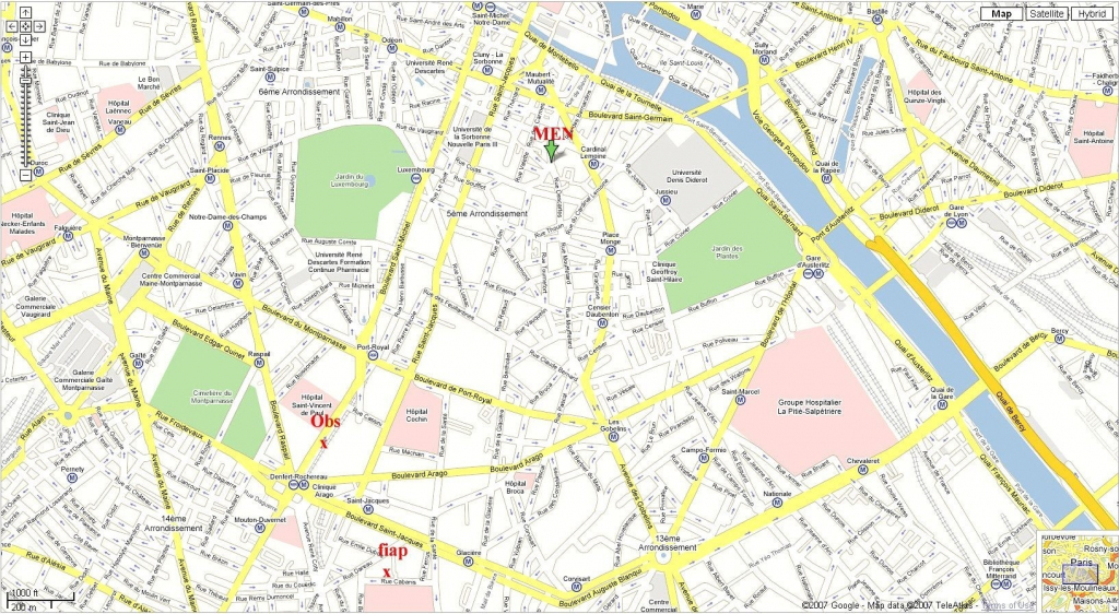 Download Street Map Paris France Major Tourist Attractions Maps And in Printable Map Of Paris
