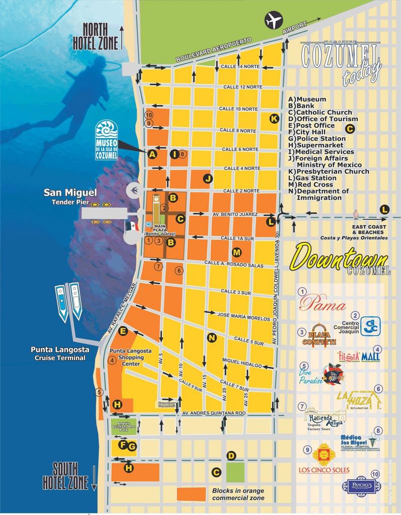Downtown Cozumel Map | Cozumel In 2019 | Cozumel Cruise, Cozumel pertaining to Printable Street Map Of Cozumel