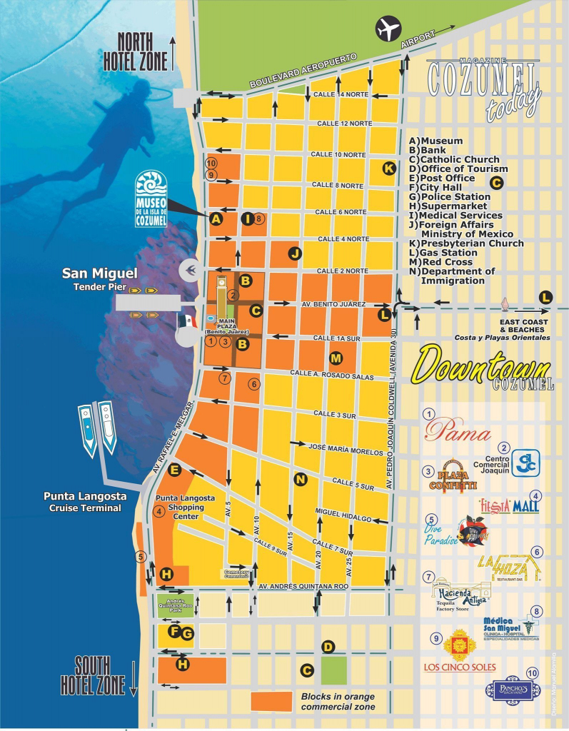 Downtown Cozumel Map #cozumelcruise | Vacay In 2019 | Cozumel Cruise within Printable Map Of Cozumel Mexico