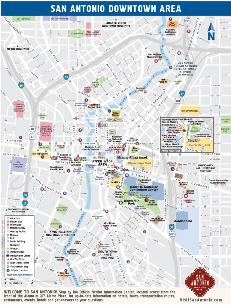 Downtown San Antonio Map - Map Of Downtown San Antonio (Texas - Usa) pertaining to Printable Map Of San Antonio
