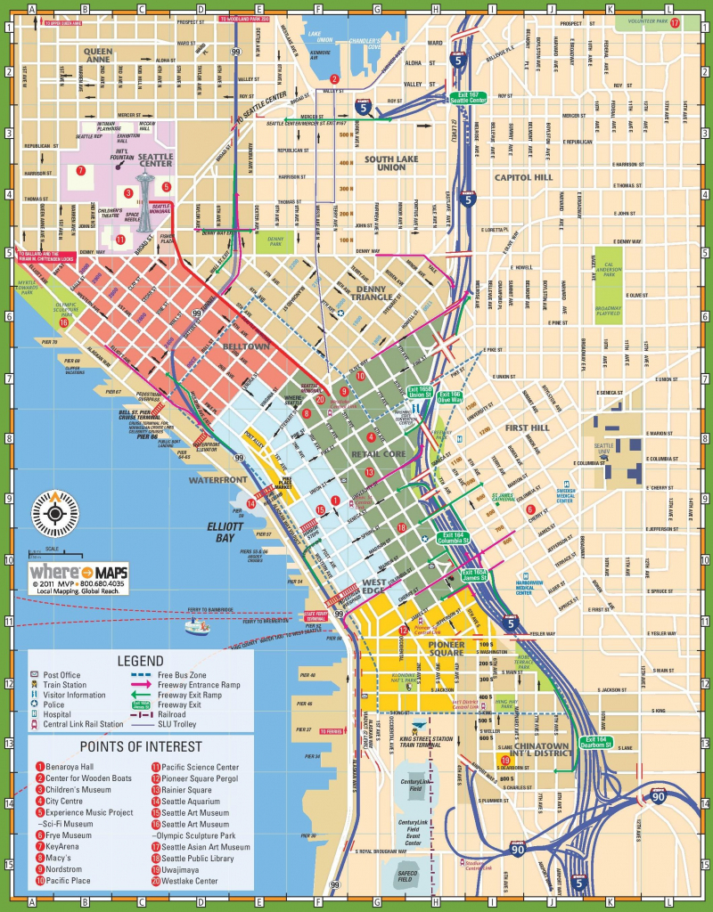 Downtown Seattle Street Map - Map Of Downtown Seattle Streets for Downtown Spokane Map Printable