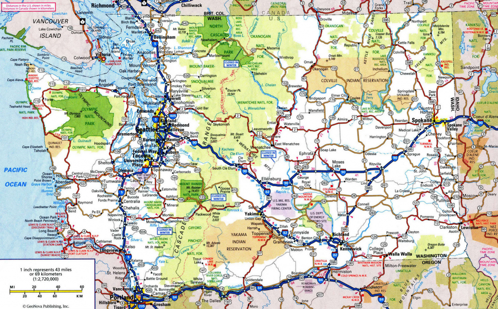 Driving Map Of Washington State And Travel Information | Download inside Washington State Road Map Printable